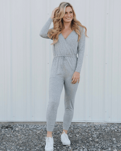 Petra Cross Front Jumpsuit - Soft Gray - Bailey's Blossoms