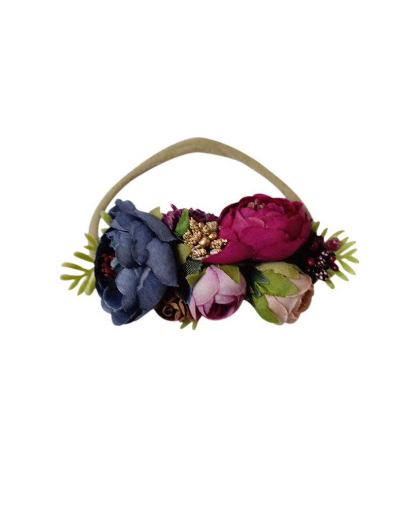 Floral Stretch Headband - Fuchsia, Navy & Mauve - Bailey's Blossoms