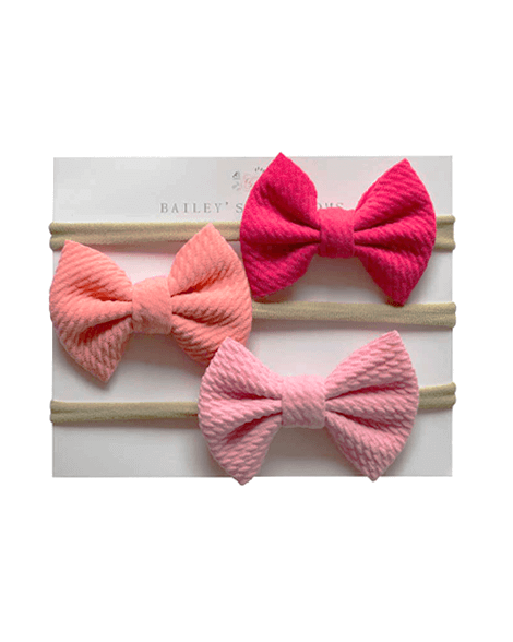 Bow Headband Variety Pack - Fuchsia/Coral/Pink - Bailey's Blossoms
