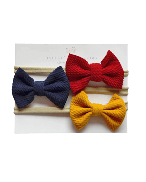 Bow Headband Variety Pack - Wine/Navy/Mustard - Bailey's Blossoms