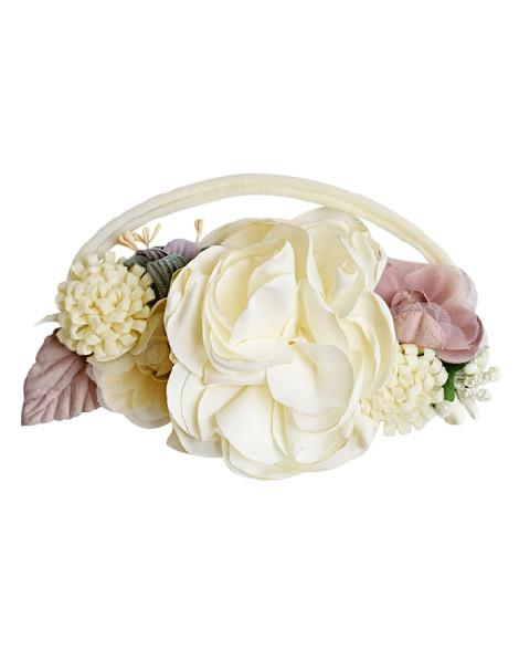Floral Stretch Headband - Ivory & Mauve - Bailey's Blossoms