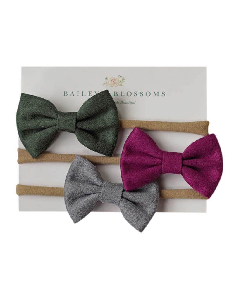 Leather Bow Headband Variety Pack - Hunter/Fuchsia/Gray - Bailey's Blossoms