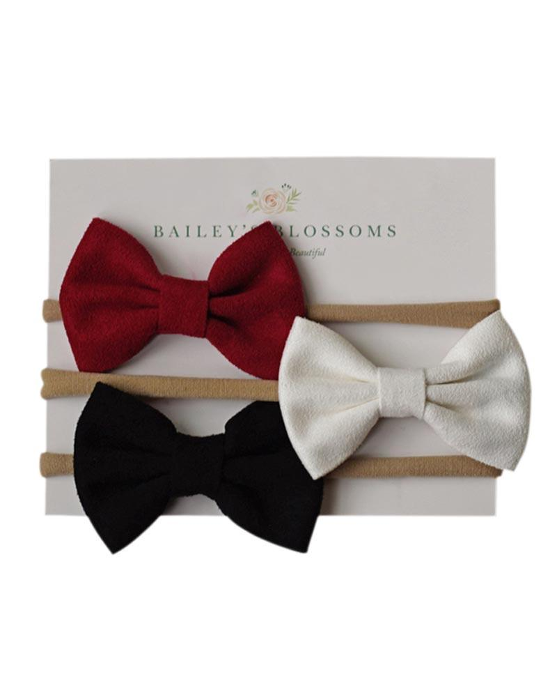 Leather Bow Headband Variety Pack - Wine/White/Black - Bailey's Blossoms