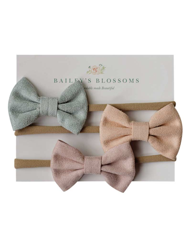 Leather Bow Headband Variety Pack - Seafoam/Peach/Pink - Bailey's Blossoms