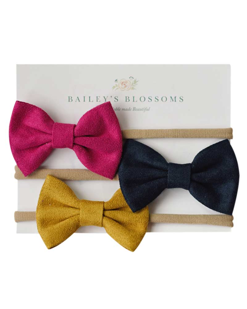Leather Bow Headband Variety Pack - Fuchsia/Navy/Mustard - Bailey's Blossoms