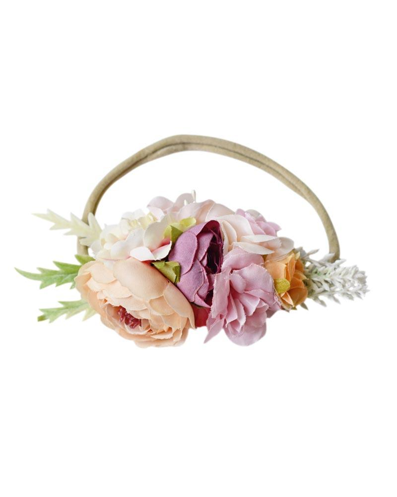 Floral Stretch Headband - Pink & Peach