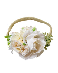 Floral Stretch Headband - Ivory Rose - Bailey's Blossoms