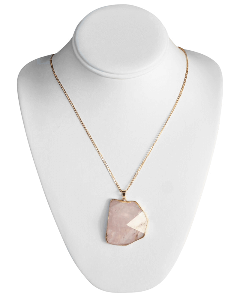 PINK PYRAMID STONE NECKLACE