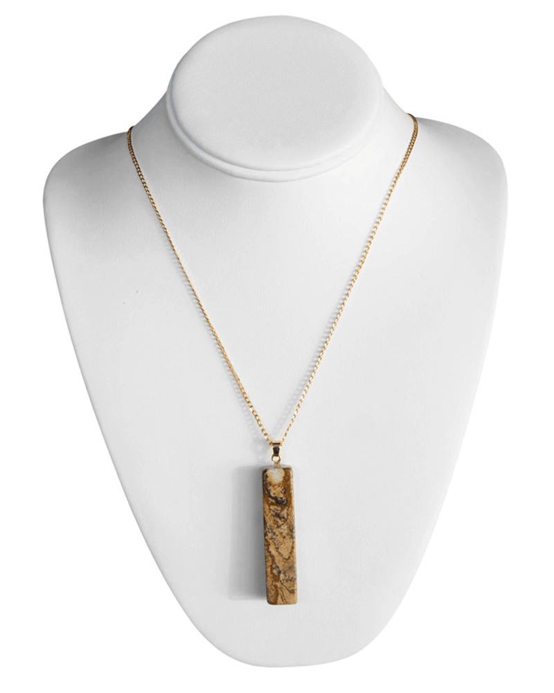 TAN BLOCK NECKLACE - Bailey's Blossoms