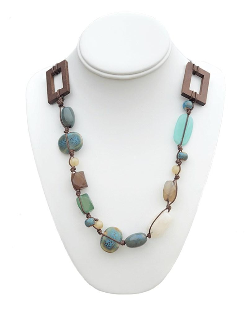 WOOD AND TURQUOISE BEADED NECKLACE - Bailey's Blossoms