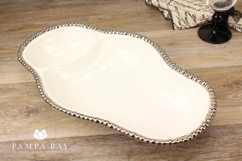 Porcelain 2-Section Serving Piece