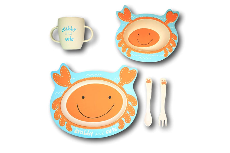 """Carlos the Crab"" Plate, Cup, Bowl & Utensil Set"