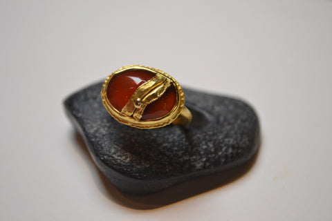 Carnelian Ring with Diamond - The Little Green Store and Gallery