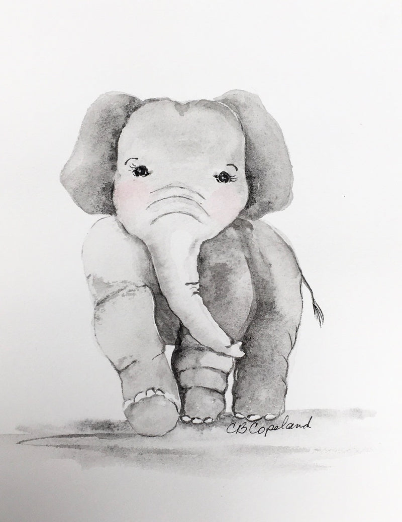 """Baby Elephant"" Original Nursery Art"