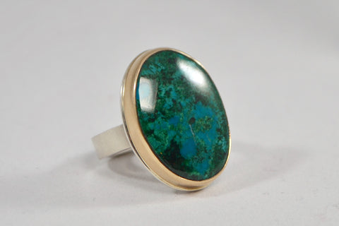 Jamie Joseph Vertical Oval Chrysocolla Ring