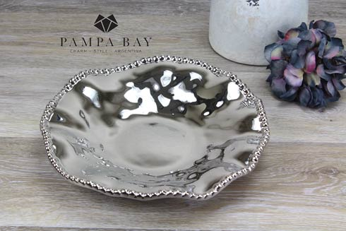 Silver Titanium Porcelain Round Serving Bowl