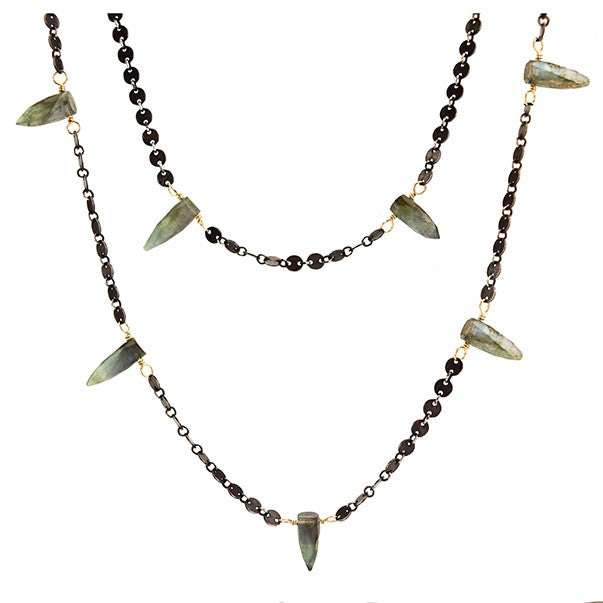 LABRADORITE LONG ICICLES NECKLACE