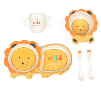 """Ryan the Lion"" Plate, Cup, Bowl & Utensil Set"