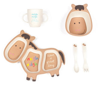 """Holly the Horse"" Plate, Cup, Bowl & Utensil Set"