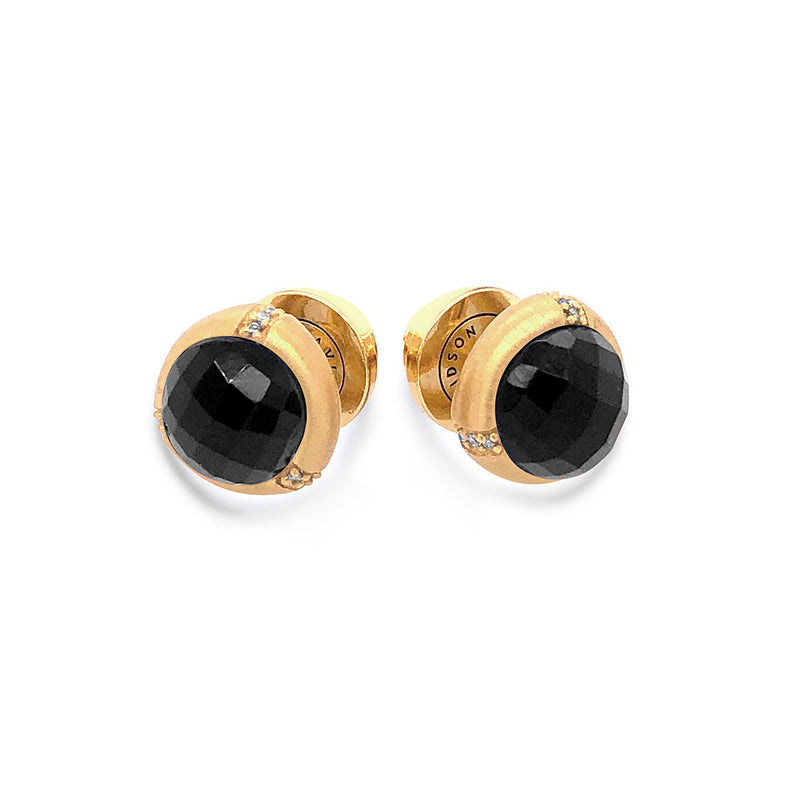 Bamboo Black Onyx Stud Earrings