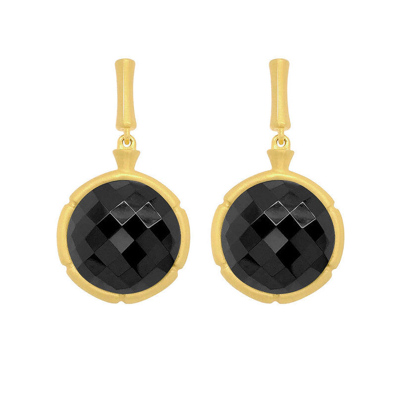 Bamboo Black Onyx Drop Earrings