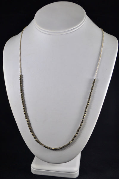 Long Pyrite Necklace - The Little Green Store and Gallery