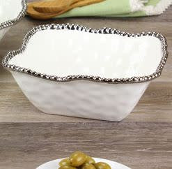 Porcelain Medium Square Salad Bowl - White