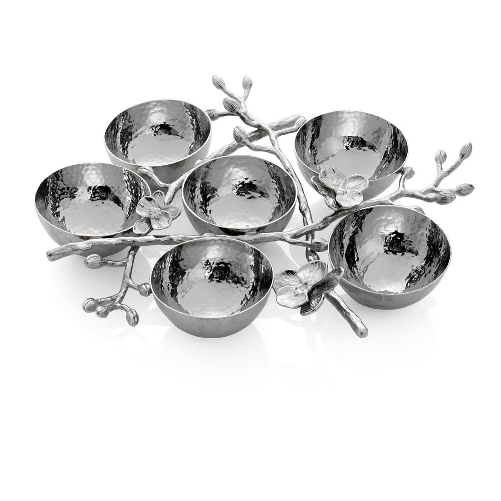 White Orchid 6 Compartment Plate