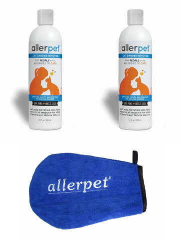 Allerpet Cat Dander Remover with Bonus Solution Application Mitt - 100% Non Toxic Pet Allergen Reducer - Scientifically Proven for Effective Cat Allergy Relief - Proudly USA Made (12oz)