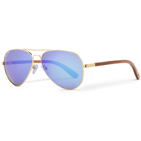 Golden Vineyard Aviators Classic | Blue Flash Lenses