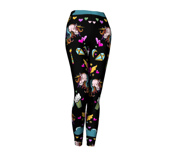 UNICORN DOODLE LEGGINGS IN BLACK