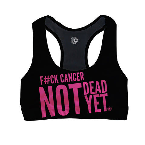 F#CK CANCER Breast Cancer Awareness Sports Bra - Not Dead Yet Apparel