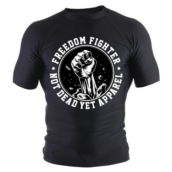 FREEDOM FIGHTER BJJ RASH GUARD WHITE PRINT - Not Dead Yet Apparel