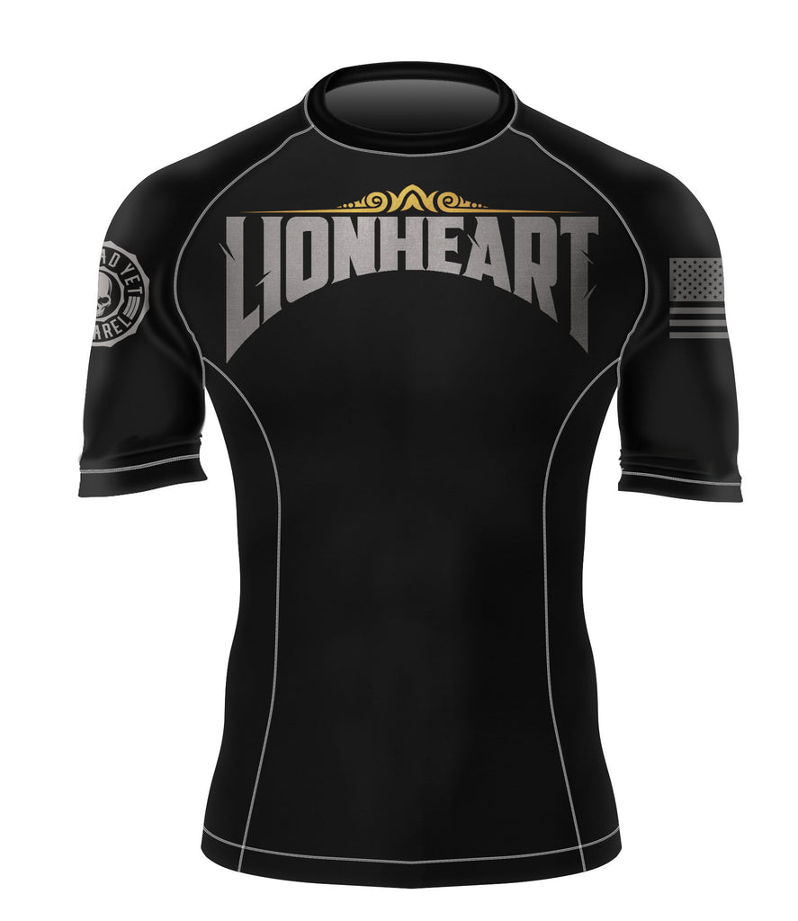 SHORT SLEEVE LIONHEART BJJ RASH GUARD - Not Dead Yet Apparel