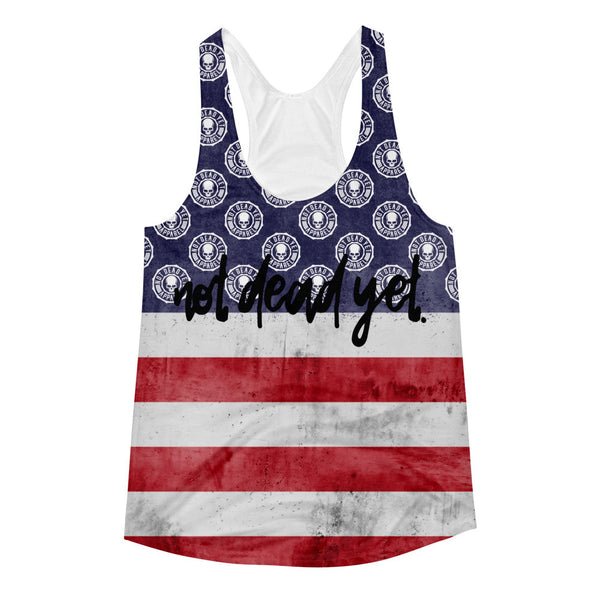 RED WHITE AND BLUE ALL OVER Women's Racerback Tank - Not Dead Yet Apparel