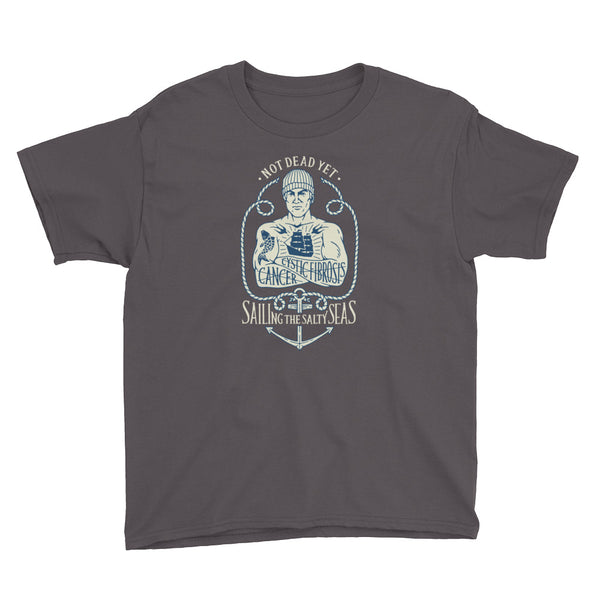 SAILING THE SALTY SEAS Youth Short Sleeve T-Shirt - A benefit tee for Mike Skoyec - Not Dead Yet Apparel