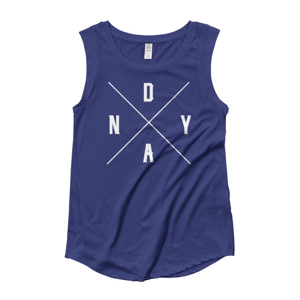 NDYA CROSSBONES Ladies' Cap Sleeve T-Shirt - Not Dead Yet Apparel