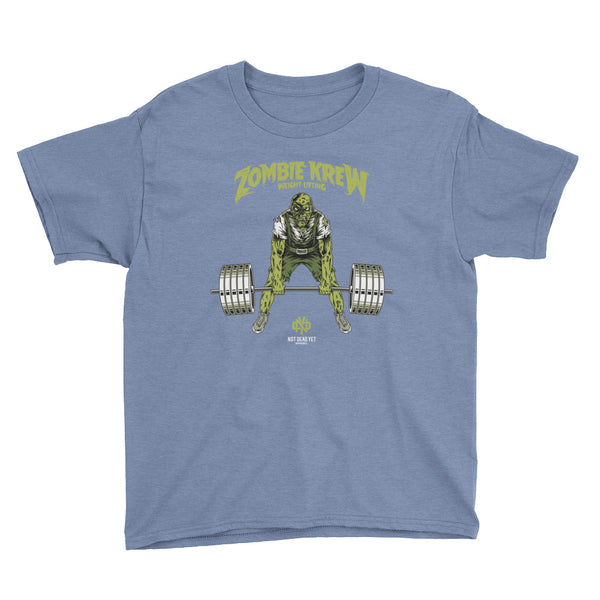 ZOMBIE KREW WEIGHTLIFTING Youth Short Sleeve T-Shirt - Not Dead Yet Apparel