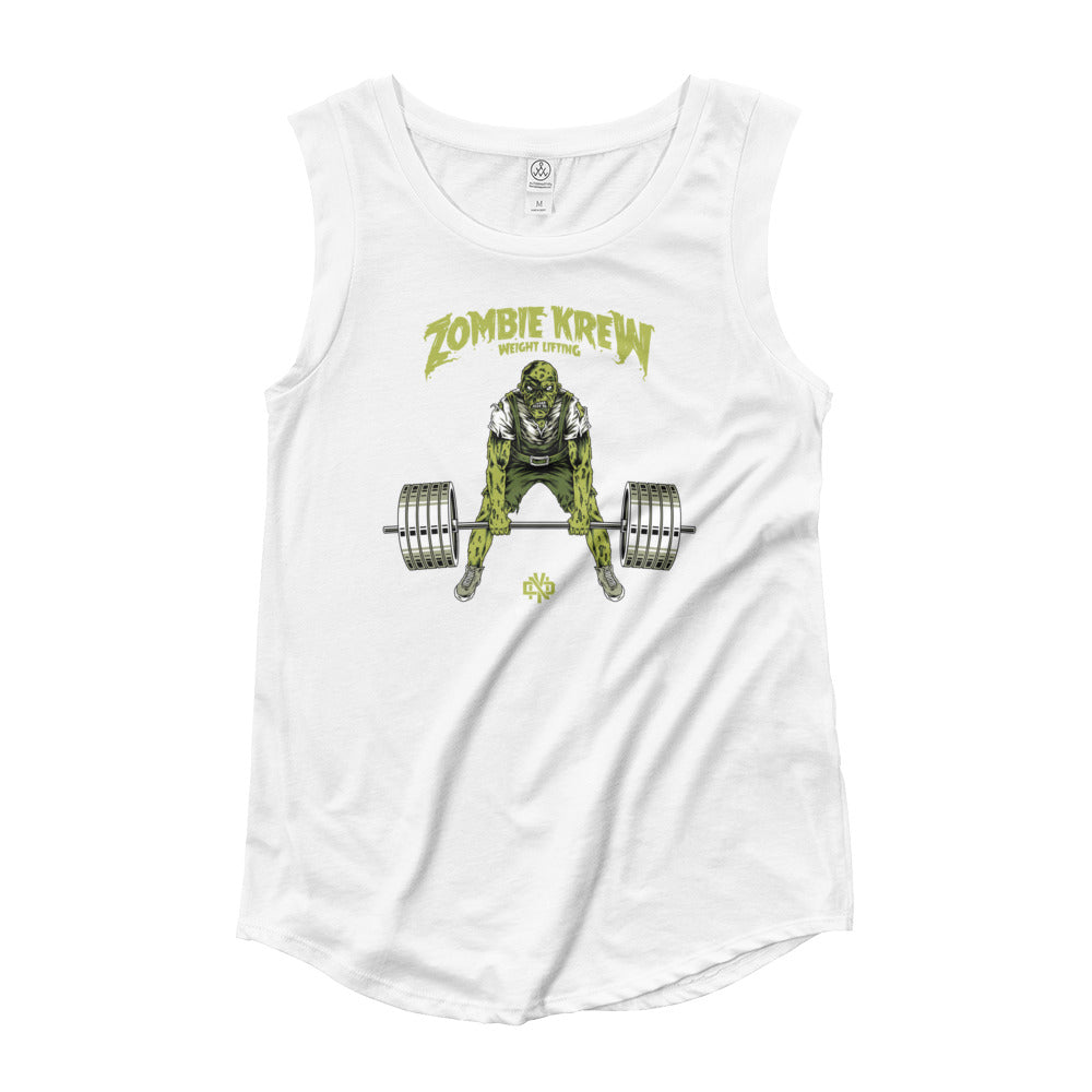 ZOMBIE KREW WEIGHTLIFTING Ladies' Cap Sleeve T-Shirt - Not Dead Yet Apparel