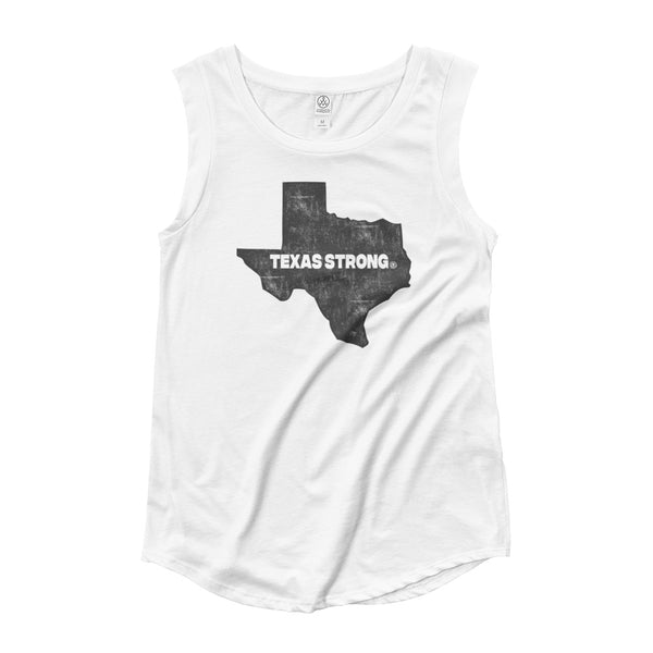 TEXAS STRONG - Hurricane Harvey Relief Ladies' Cap Sleeve T-Shirt - Not Dead Yet Apparel