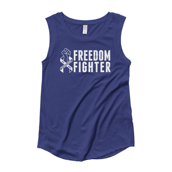 FREEDOM FIGHTER RIBBON Ladies' Cap Sleeve T-Shirt - Not Dead Yet Apparel