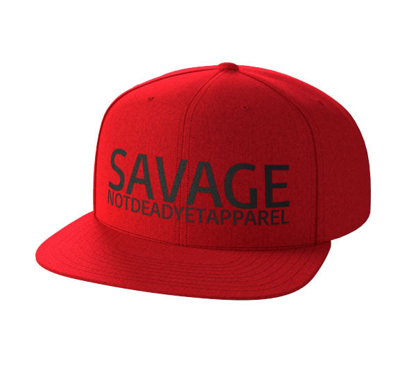 SAVAGE Red Snap Back - Not Dead Yet Apparel