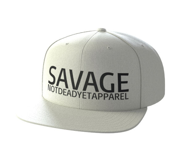SAVAGE White Snap Back - Not Dead Yet Apparel
