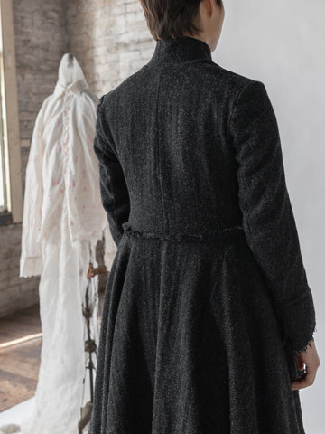 Elena Dawson Scots Coat in Charcoal Tweed