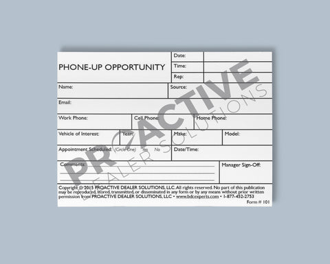 Phone-Up Opportunity Card