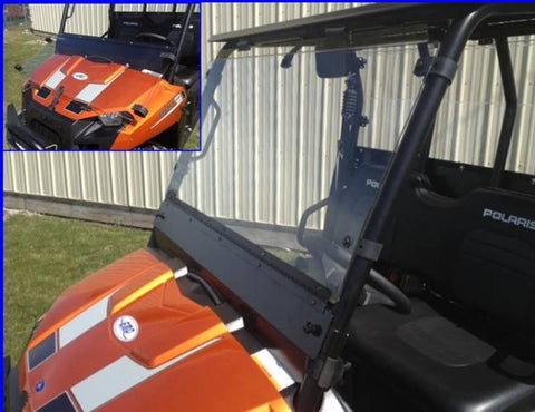 D.O.T. Approved Hard Coated Fold Down Full Windshield - 2010-14 Mid Size Ranger 400/500/570/EV/800 and 500/570 Crew