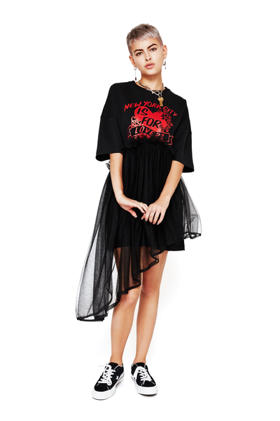Asymmetrical Tulle T-Shirt Dress