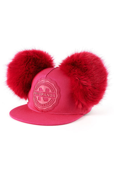 PANDA UNIVERSITY FUR EAR FITTED CAP