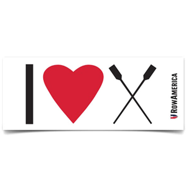 Rowing Sticker - Scull & Sweep I Love Rowing Sticker