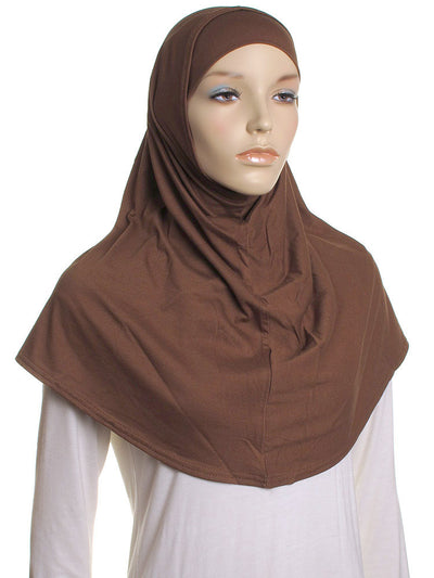 Brown Plain Cotton 2 Pce Al Amira Hijab - Hijab Store Online
